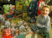 We may have overdone it buying Tom presents for his fifth birthday!
