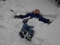 Tom enjoying some mad fun in the snow!