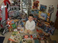Tom's excited with all his Christmas presents!